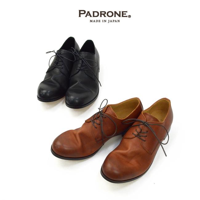 パドローネのロゴと革靴の写真