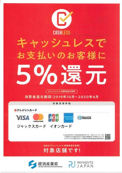 5%還元対象クレジットカード